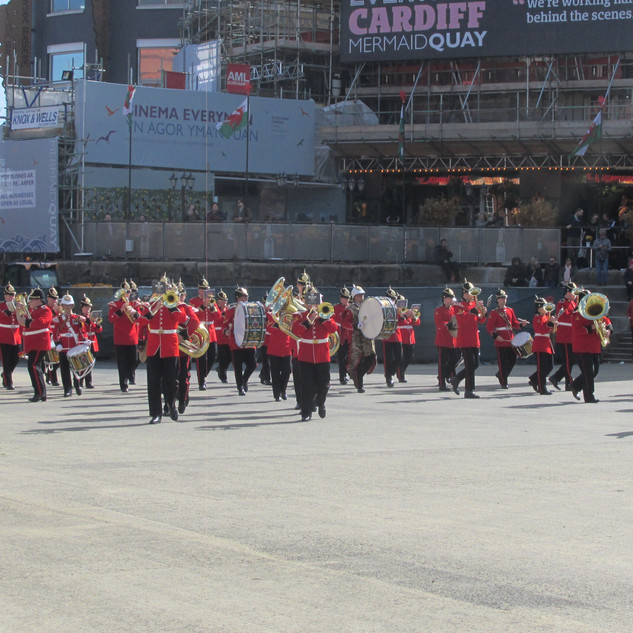 The combined brass bands during the bomb burst