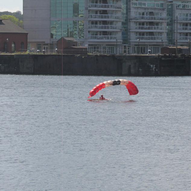 A member of the Red Devils after landing into the water of Cardiff Bay