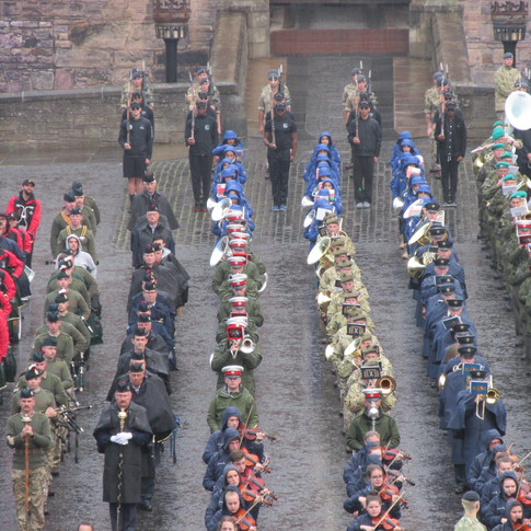 The Massed Bands and Pipes and Drums (left)