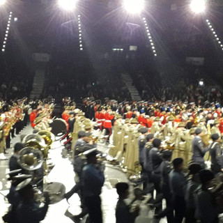 The massed Bands march on for the Grand Finale