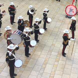 The Band of HM Royal Marines Plymouthhaving completed their marching display