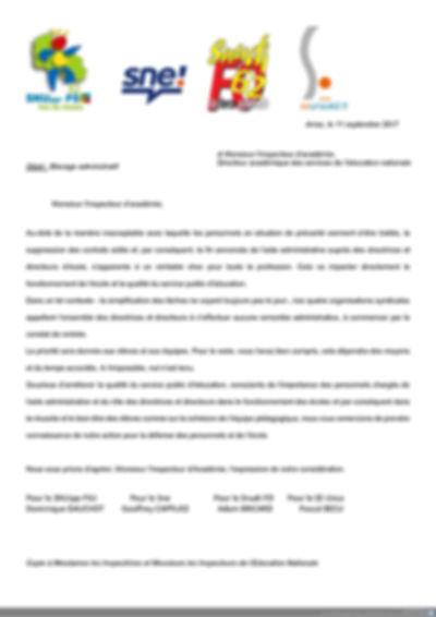 intersyndicale sne 59 62 directeurs blocage administratifstratif disparition des evs aide simplification des tâches lettre courrier au DASEN aux IEN