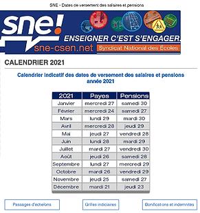 SNE - Dates de versement des salaires et