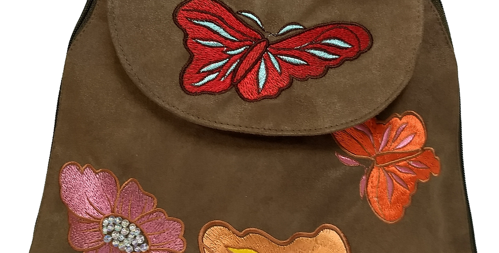 Suedette Butterflies and Flowers Dark Tobacco