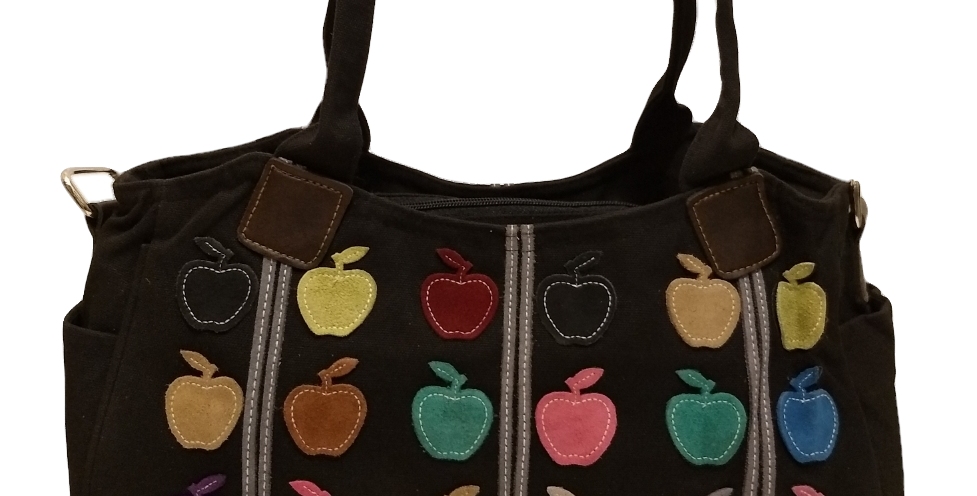 Canvas Handbag with Cross Body Strap - Apples Black