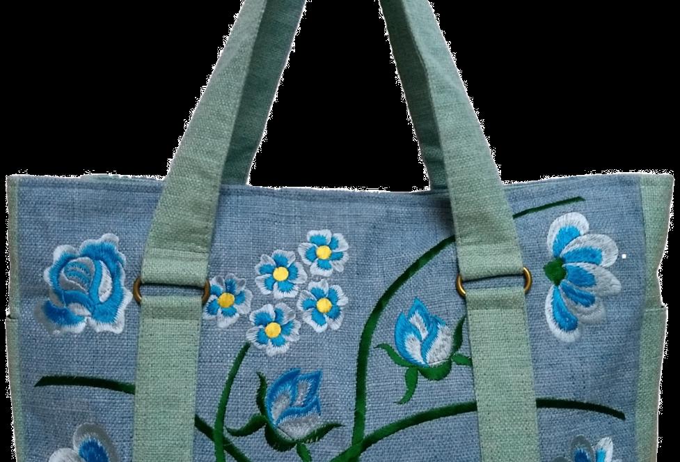 Embroidered Fabric Handbag - Light Blue
