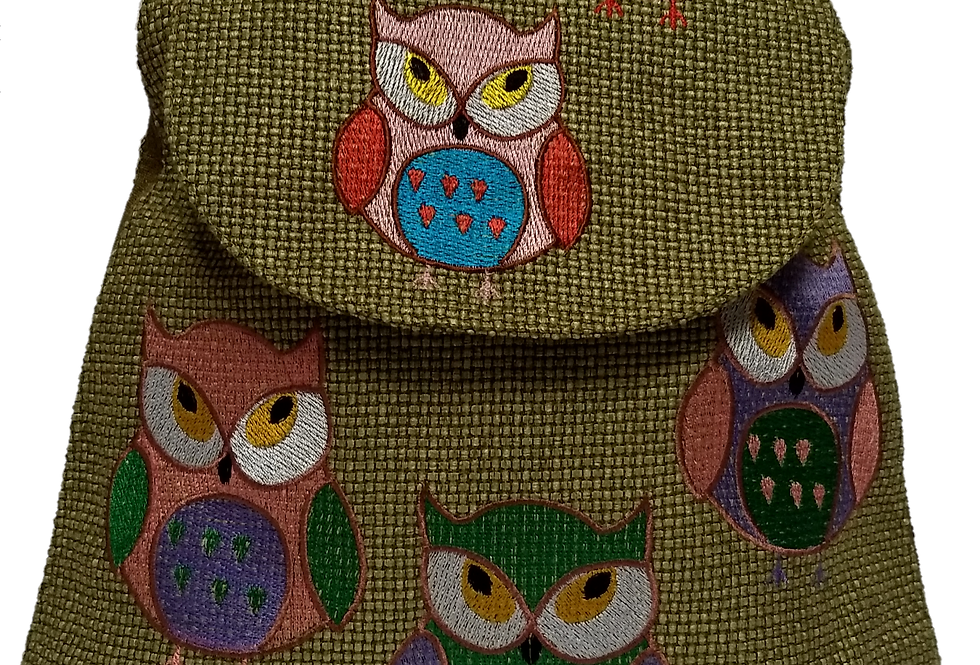 Woven Fabric Embroidered Owls Golden Lime