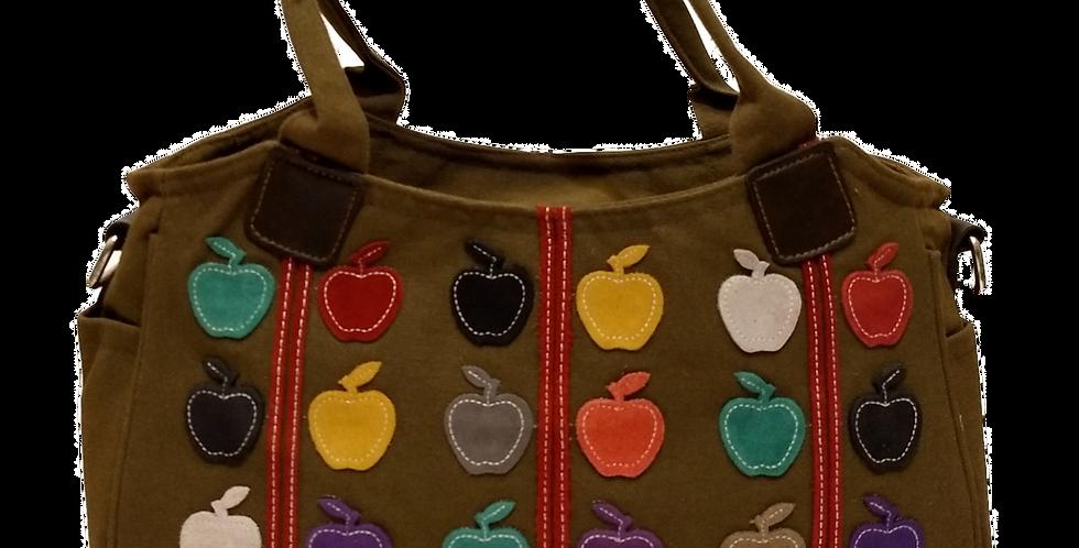 Canvas Handbag with Cross Body Strap - Apples Khaki
