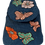 Woven Fabric Turquoise Backpack with Embroidered Flowers and Butterflies with beaded detail