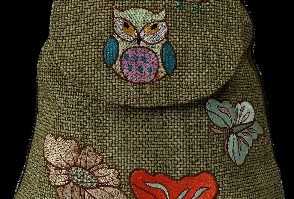 Woven Fabric Owl Butterflies and Flowers Green