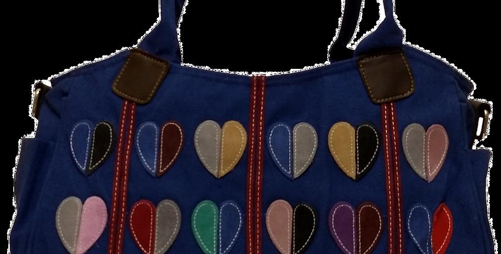 Canvas Handbag with Cross Body Strap - Hearts Blue