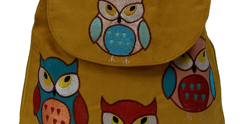 Suedette Embroidered Owls Gold