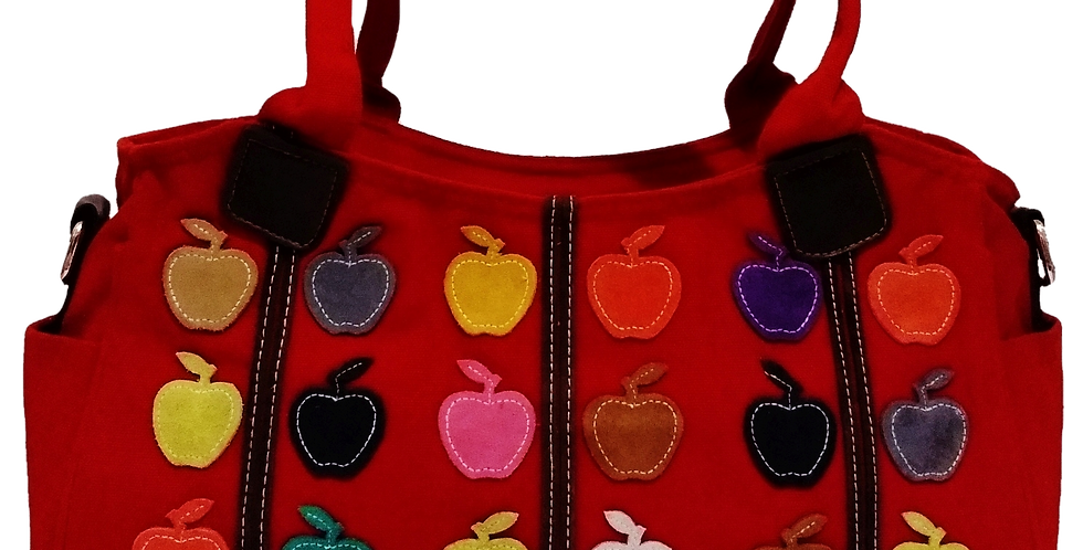 Canvas Handbag with Cross Body Strap - Apples Red