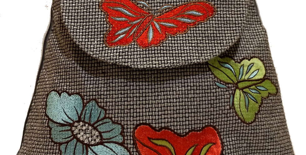 Woven Fabric Butterflies and Flowers Silver Grey