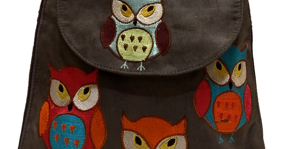 Suedette Embroidered Owl Dark Grey