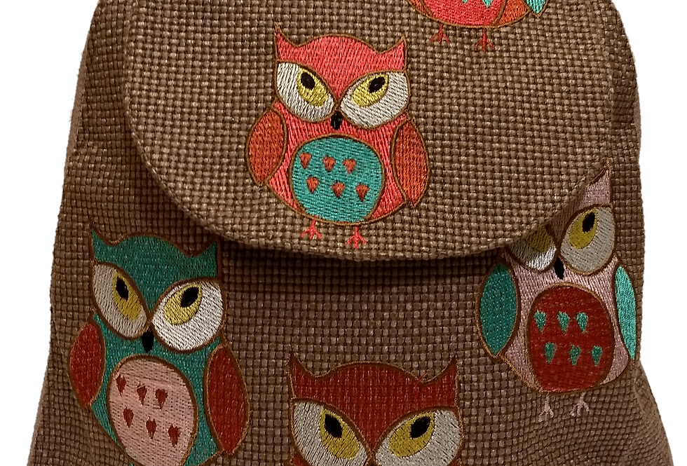 Woven Fabric Embroidered Owls Coffee
