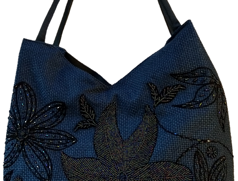 Large Fabric Flower Tote - Blue/Black