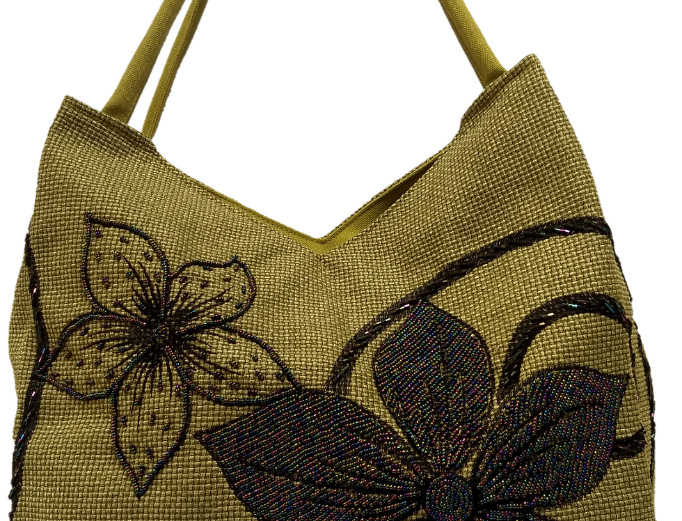 Large Fabric Flower and Leaf Tote - Olive/Bronze/Black