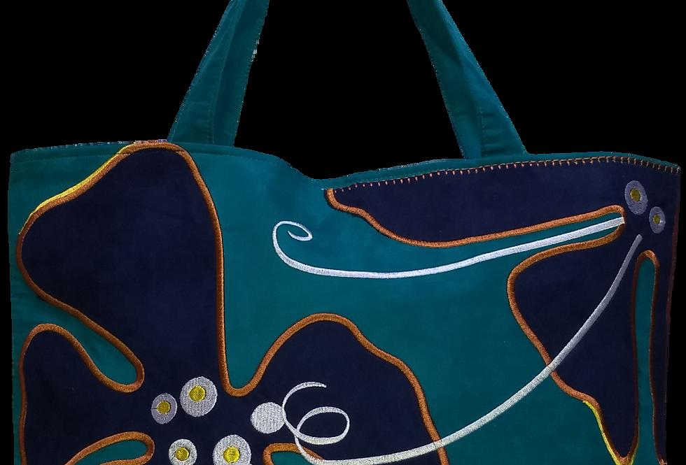 Suedette Hippy Flower Blue/Navy