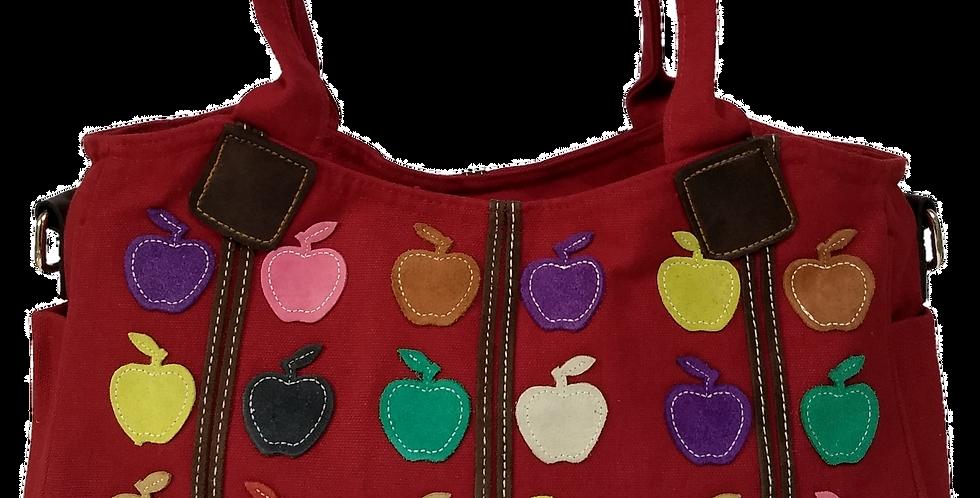 Canvas Handbag with Cross Body Strap - Apples Dark Red