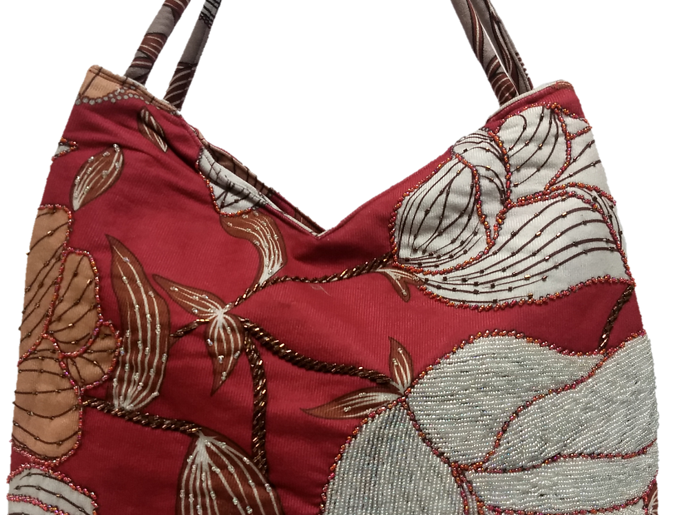Suedette Beaded Hibiscus Tote - Red/Coffee/White