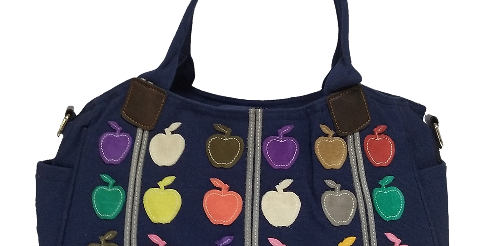 Canvas Handbag with Cross Body Strap - Apples Navy