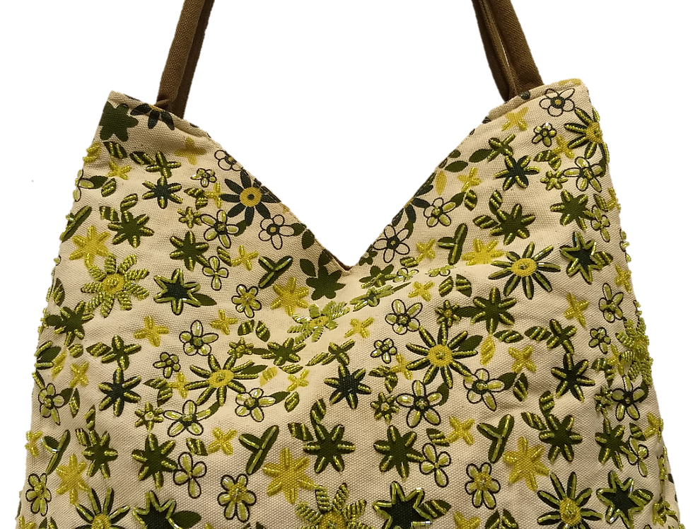 Large canvas tote -Cream with Spring Green star flowers design