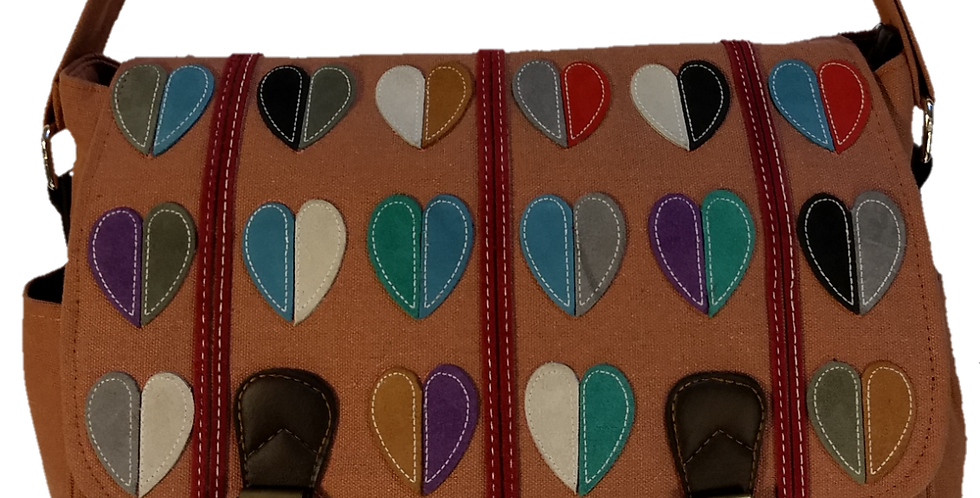 Large Satchel - Hearts Salmon