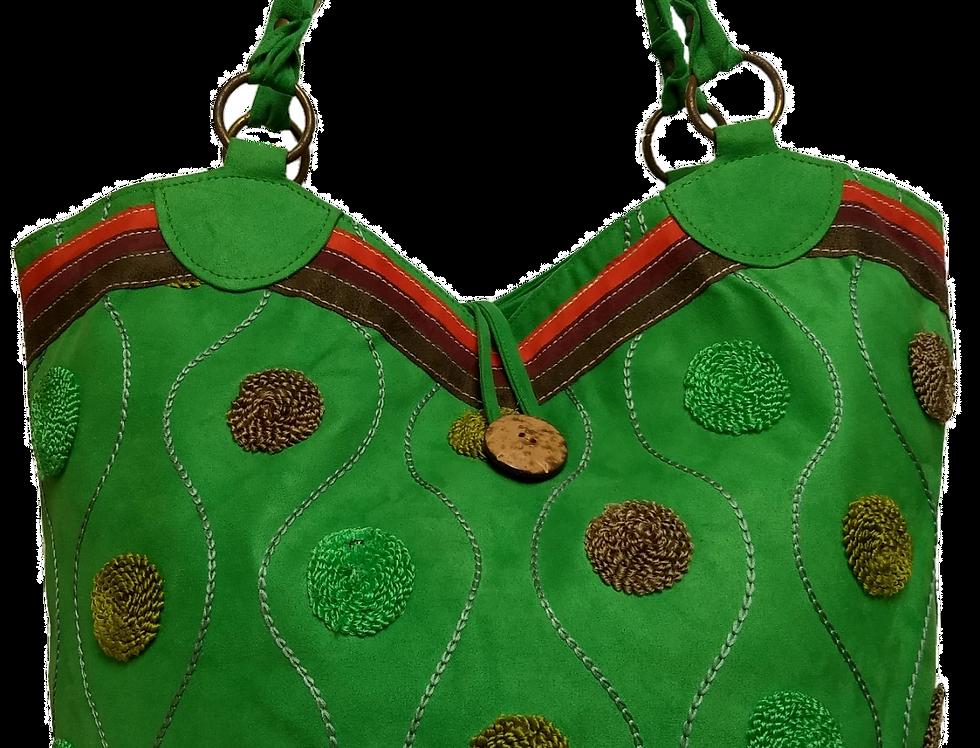 Large Suedette Tote Bag - Spring Green