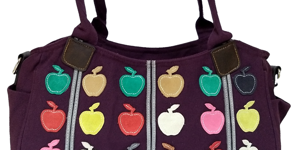 Canvas Handbag with Cross Body Strap - Apples Purple