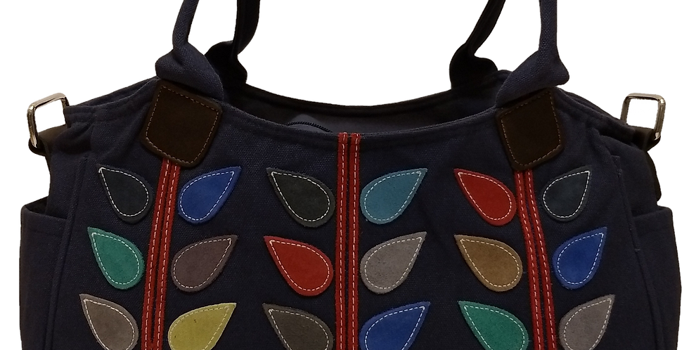 Canvas Handbag with Cross Body Strap - Leaves Navy