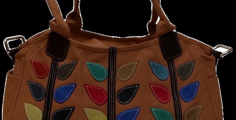 Canvas Handbag with Cross Body Strap - Leaf Salmon