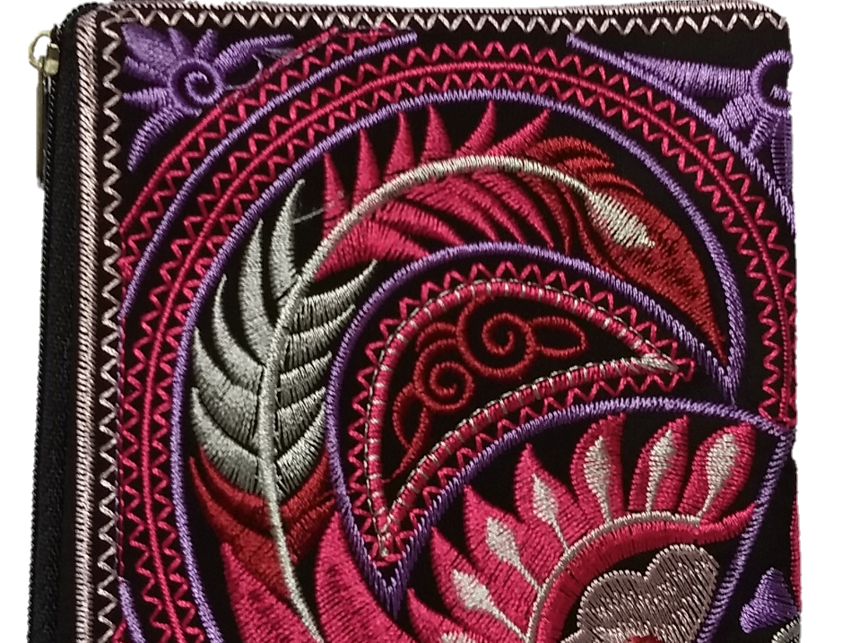 Embroidered Purse - Pink/Purple/Brown