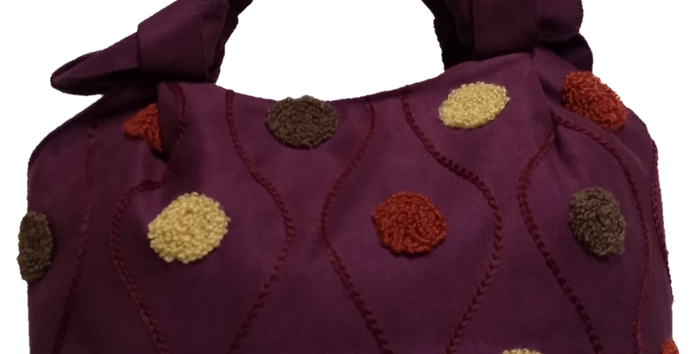 Small Suedette Handbag - Burgandy