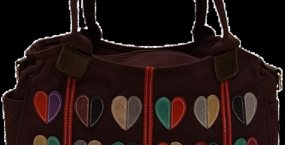 Canvas Handbag with Cross Body Strap Hearts - Purple