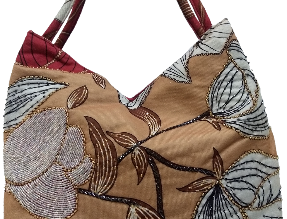 Suedette Beaded Hibiscus Tote - Coffee/Red/White