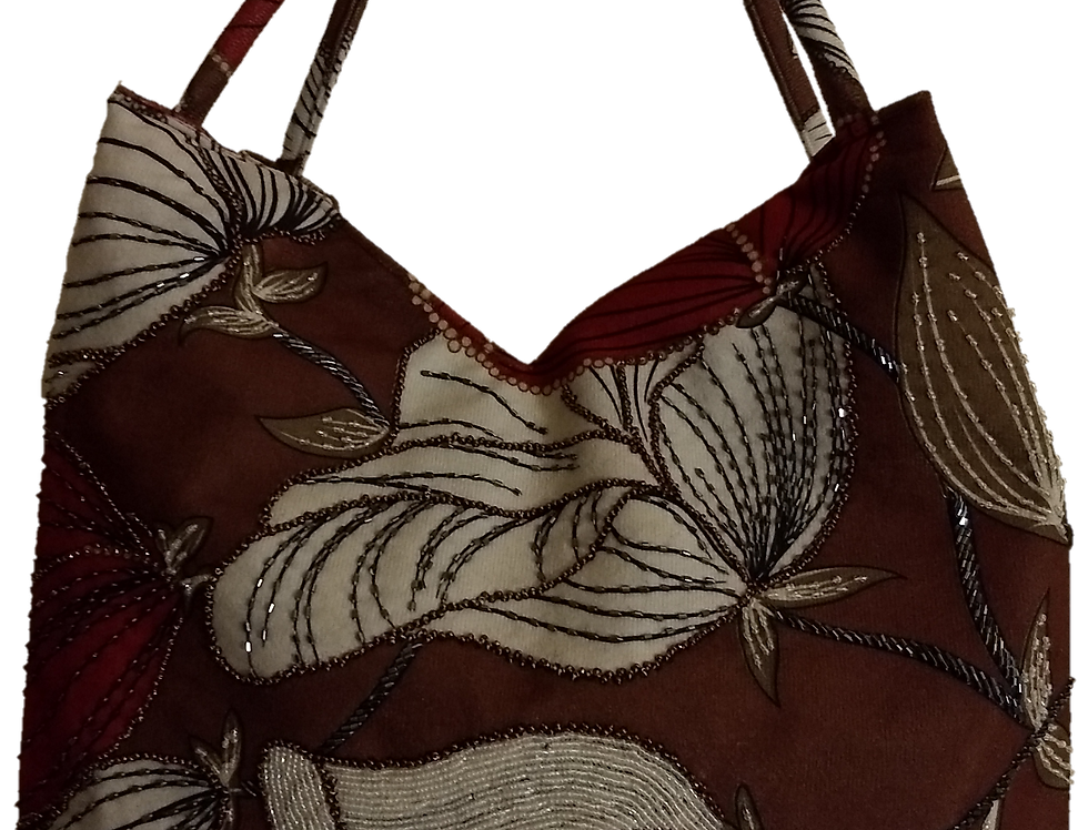Suedette Beaded Hibiscus Tote - Tobacco//White/Red