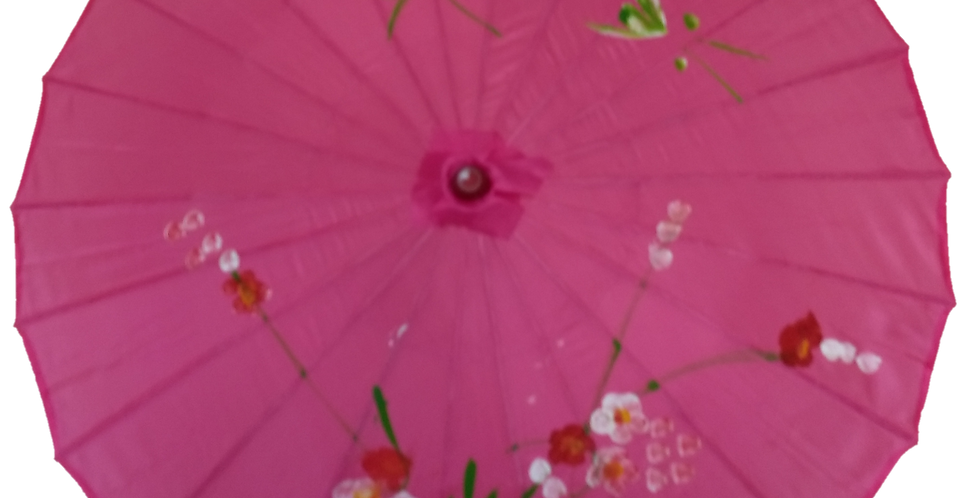 Hand-Painted Parasol - Magenta