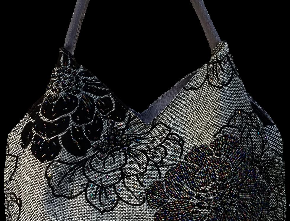 Medium Fabric Flower and Leaf Tote - Grey/Black/Silver
