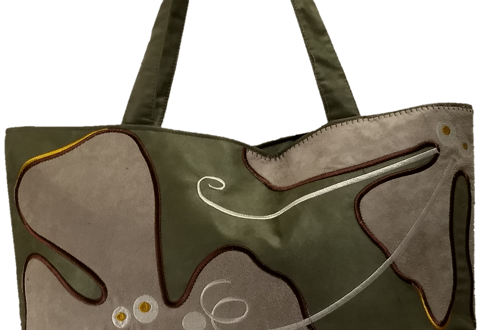 Suedette Hippy Flower Olive/Grey