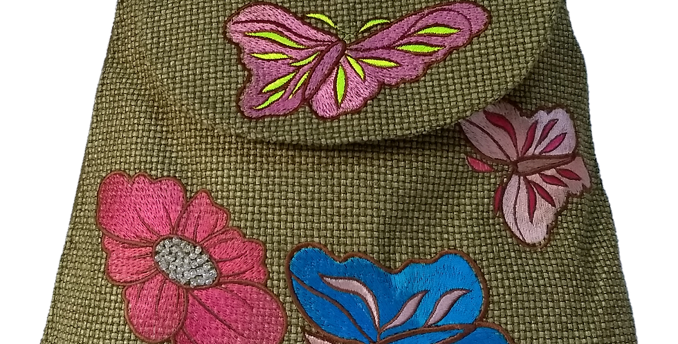 Woven Fabric Butterflies and Flowers GLime