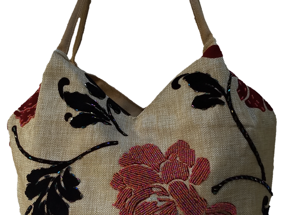 Medium Fabric Flower and Leaf Tote - Grey/Red/Silver