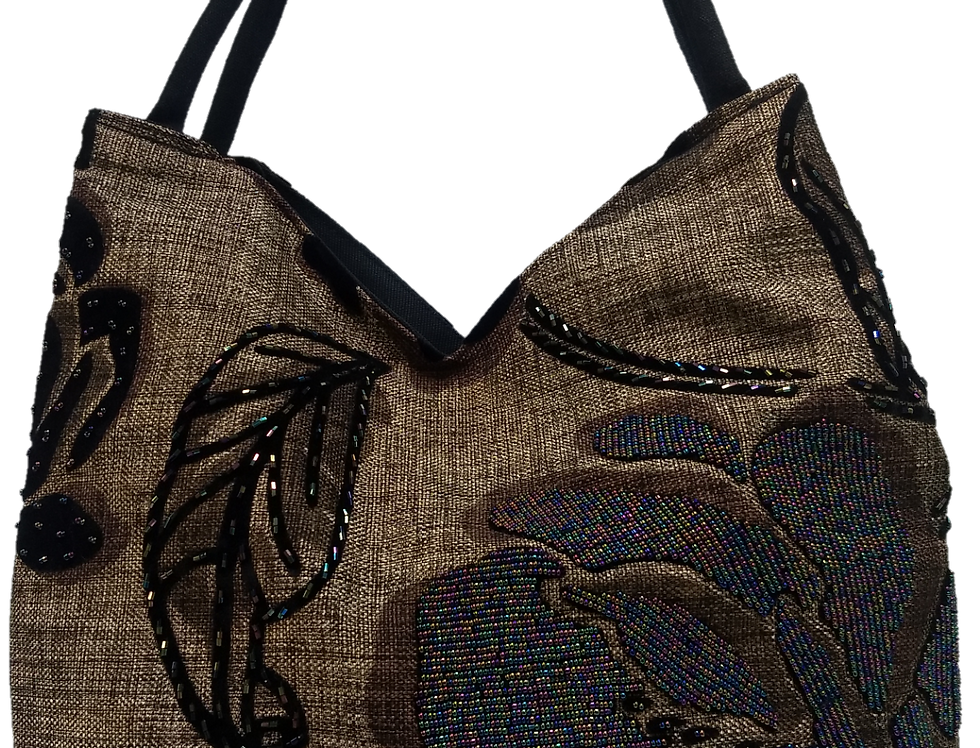 Large leaf and Rose Tote - Brown/Black