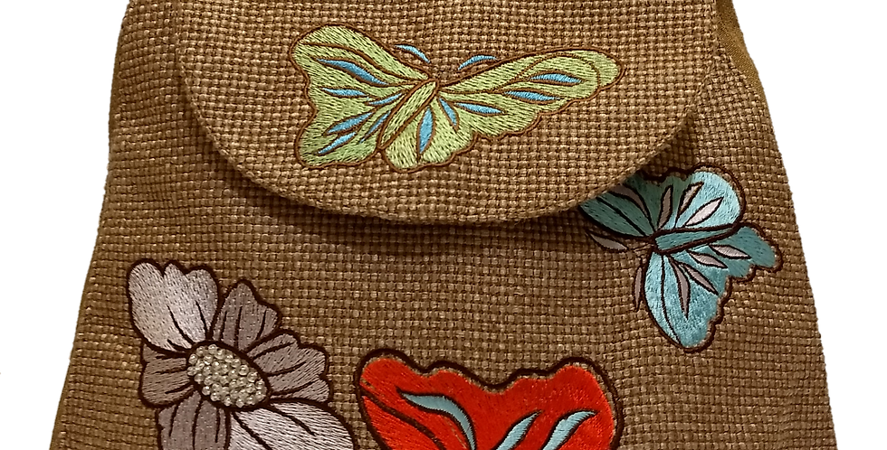 Woven Fabric Butterflies and Flowers Mocha