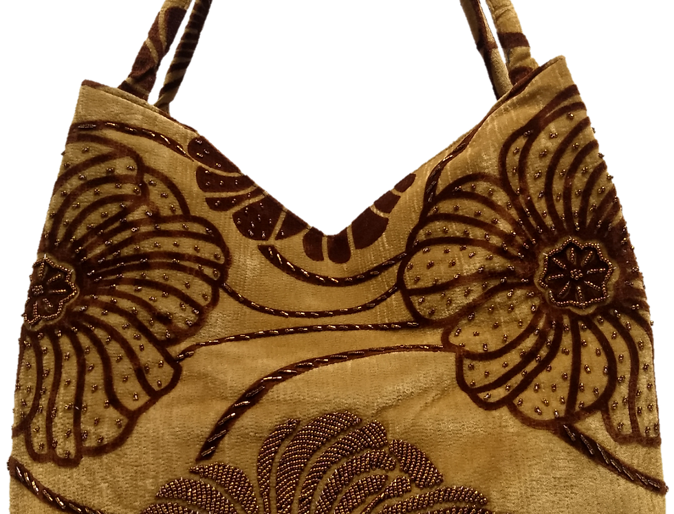 Large Chrysanthemum Tote - Cappuccino/Brown/Bronze