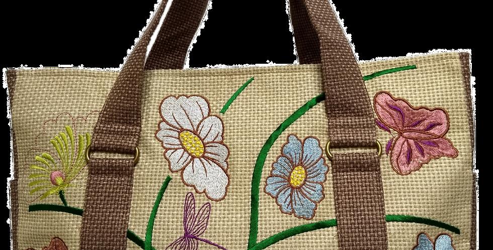 Embroidered Fabric Handbag Gold Butterflies