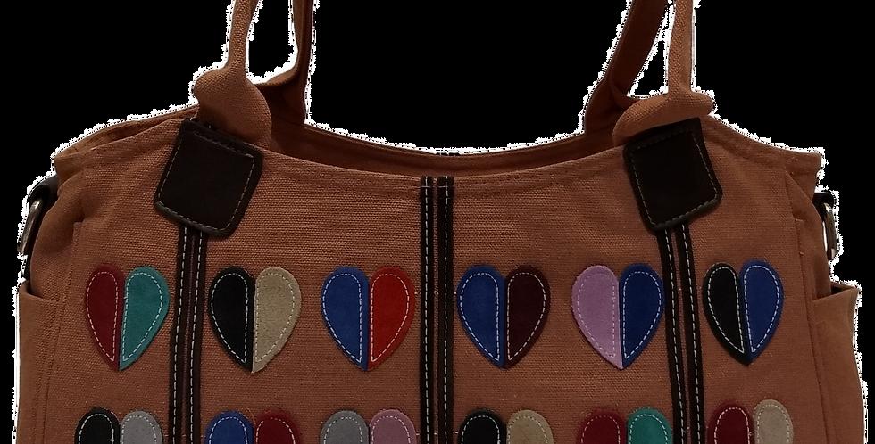 Canvas Handbag with Cross Body Strap - Hearts Salmon