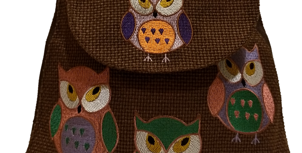Woven Fabric Embroidered Owls Chocolate