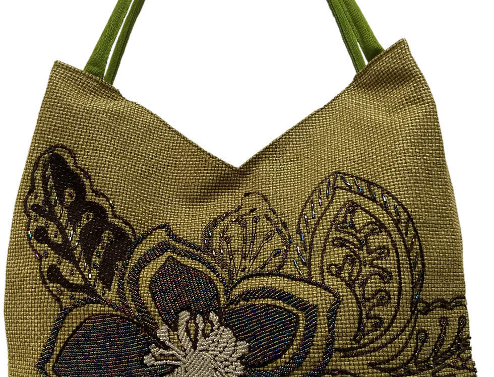 Large Fabric Flower and Leaf Tote - Olive/Bronze/Black/White