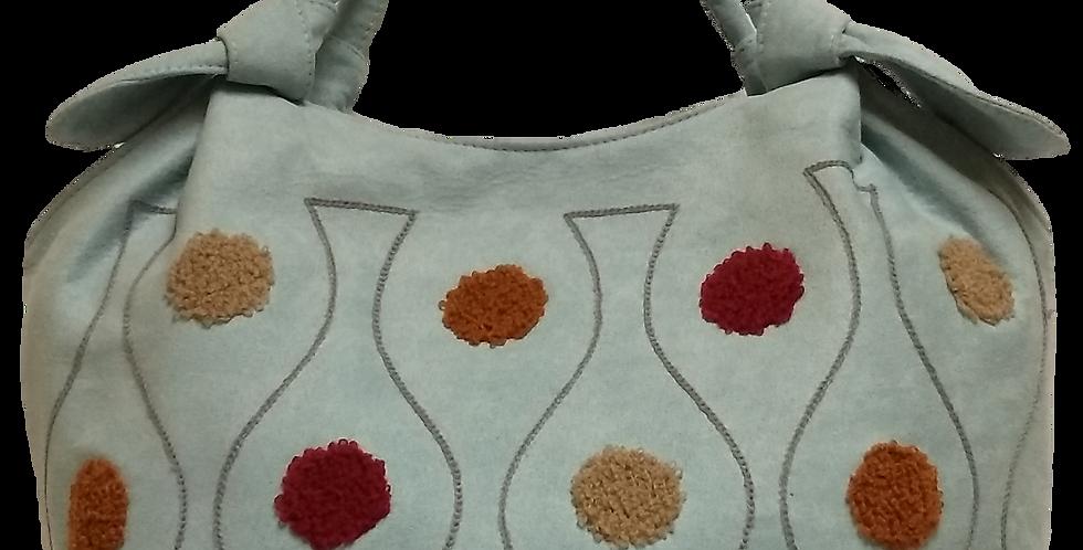 Small Suedette Handbag - Light blue